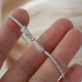 Women Shiny Zircon Bracelet Jewelry 925 Silver Jewelry