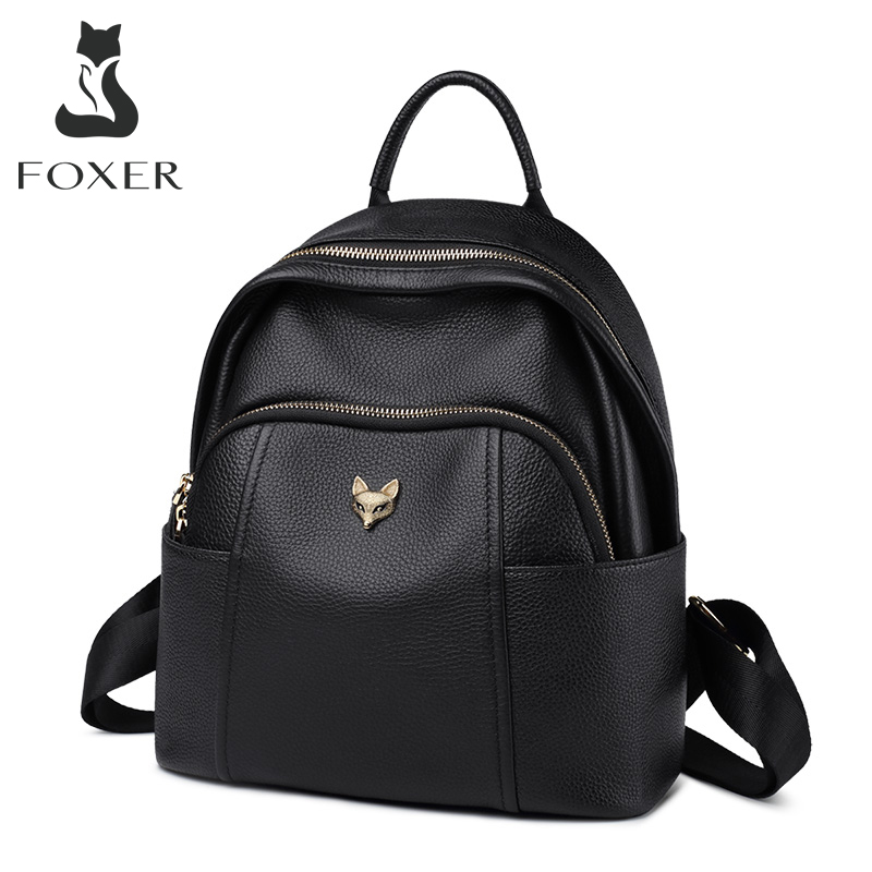 FOXER натуральная кожа школьная сумка для девочек Feminina Повседневный многофункциональный Женский дорожный рюкзак мягкие высококачественные