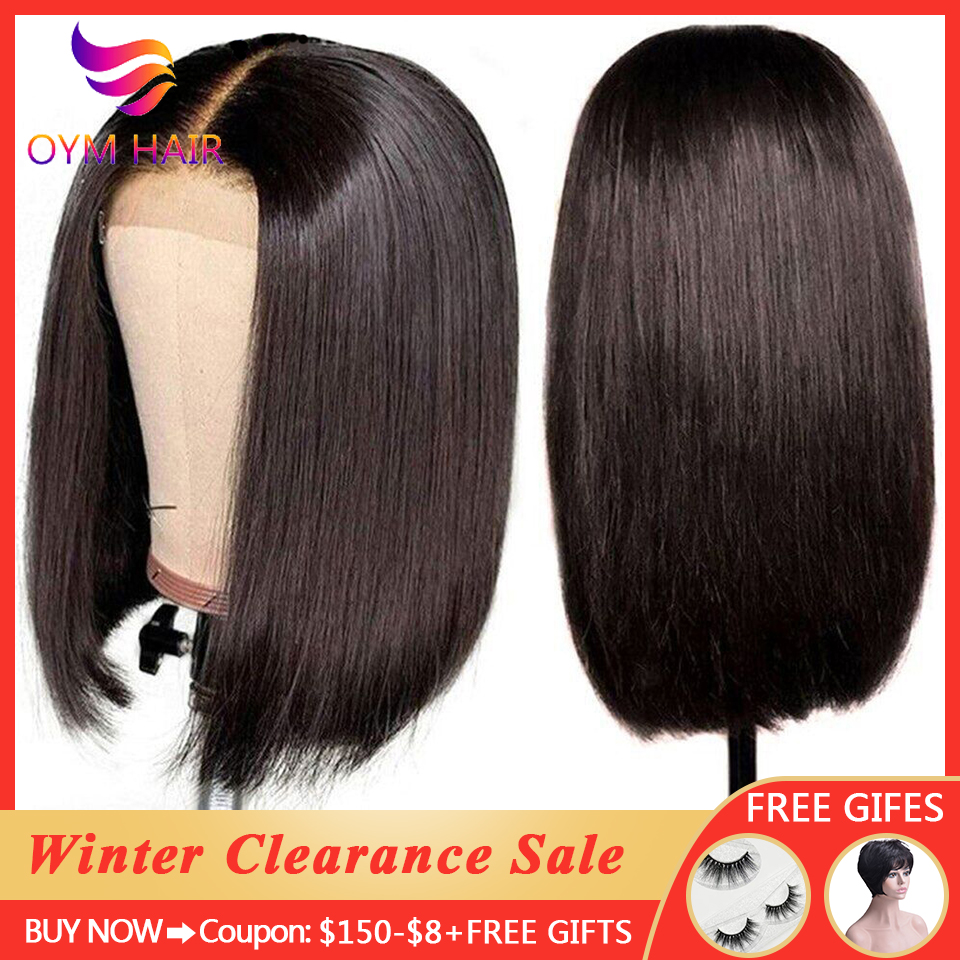 OYM HAIR 150% Short Bob Lace Front Human Hair Wigs For Black Women 4x4 Lace Closure Wigs Brazilian Straight Remy Lace Wigs