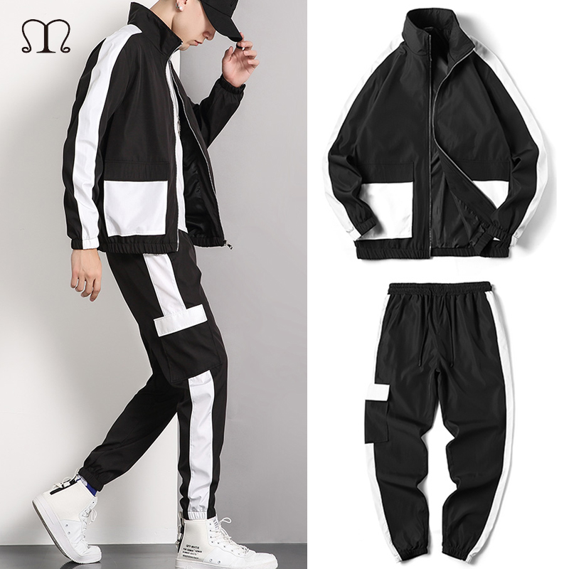 Men Track Suit Brand 2 Pcs Patchwork Sweatshirt Jacket Pants Mens Streetwear Clothing Zipper Casual Men Tracksuit Set Plus Size