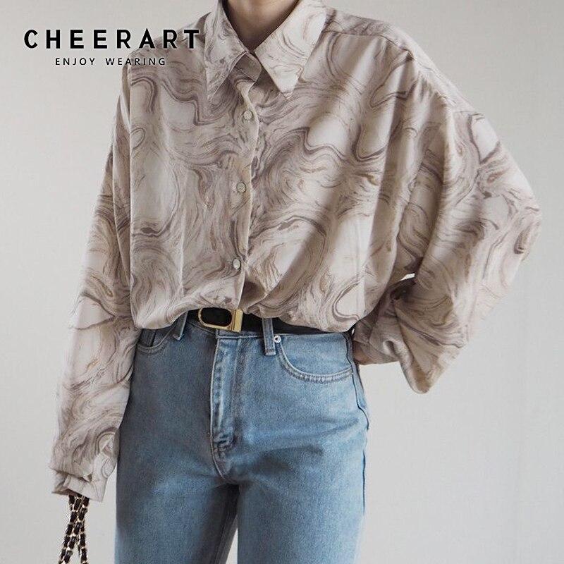 CHEERART Tie Dye Long Sleeve Blouse Plus Size Collared Shirts For Women Loose Blouse Shirt Designer Korean Fashion