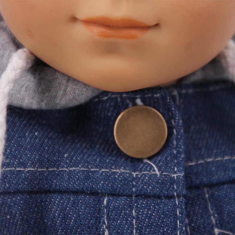 18 インチ 2 本のデニム人形服かわいい高品質デニムパーカースーツフィットベビー新ブロンアメリカと 43 センチメートルrebron人形おもちゃ