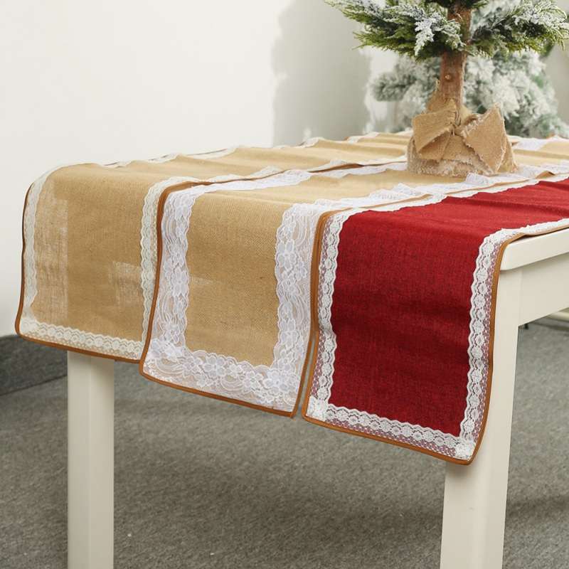 Christmas Table Runner Linen Lace Table Runner Festival Holiday Dinning Table Decorations Party Weding Dekoration