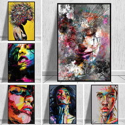 Graffiti Art Abstract Girl Canvas Painting Modern Pop Art Posters and Prints Cuadros Wall Art Picture For Living Room Home Decor
