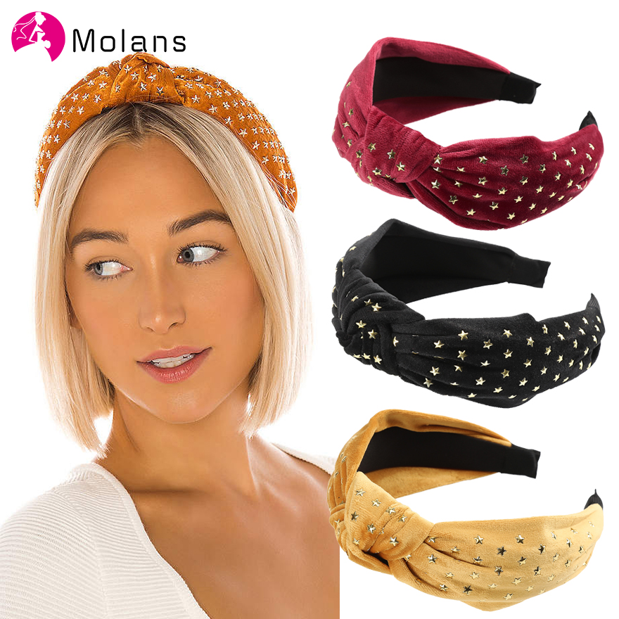 Molans Flannel Star Stud Embellished Headband Solid Simple Leisure Center Knot Women Headbands Wide Hair Hoops Elegant Headwear