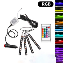 1 Set Car RGB Led Strip Light Universal Wireless Remote Control RGB Neon LED Interior Car Light Decorative Car Atmosphere Lights 4pcs hot rgb 12led car interior atmosphere neon light strip wireless remote control led lamp auto car decorative bulb