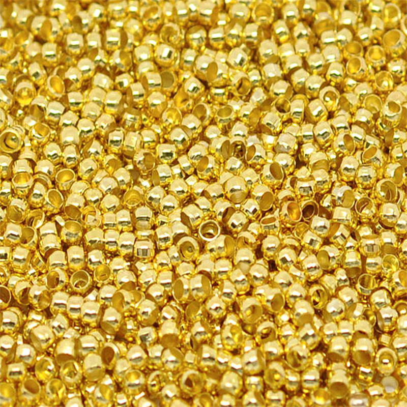 DoreenBeads Alloy Crimp Beads Round Gold Color For DIY Unisex Gifts Crimp Beads Jewelry Findings 1mm 2mm( 1/8