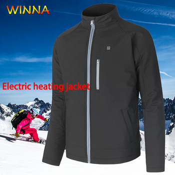 Mens Heated Windbreaker Jackets Taslon Waterproof Hooded Coat Autumn Winter Slim Fit Warm Electric Heating Outwear Use 6 Hours фото
