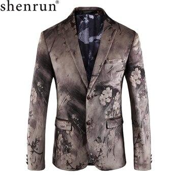Shenrun Men Casual Blazers Autumn Winter Digital Print Jacket Slim Blazer High Quality Stage Costumes Singer Host Party Business