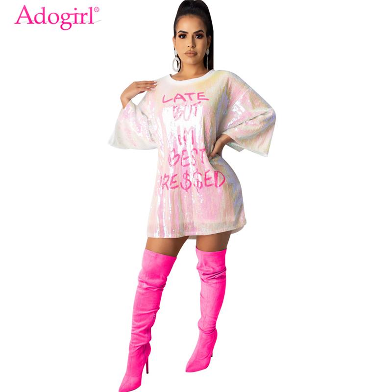 Adogirl 2020 Spring Letter Sequins Loose Casual Mini Dress Women O Neck Half Sleeve Night Club T Shirt Dresses Female Clothes