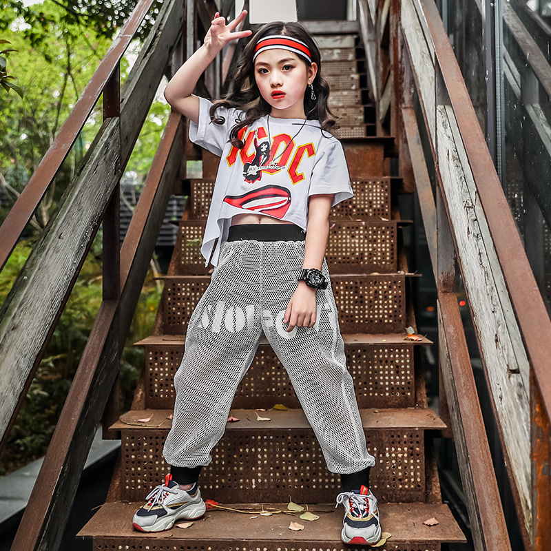 Kids Cool Hip Hop Clothing T Shirt Top Crop Loose Fishnet Running Casual Pants Shorts For Girls Jazz Dance Costumes Clothes Wear