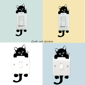 1pc Cute Cat Wall Sticker Funny Black Cats Light Switch Sticky Paper Home Living Room Bedroom Bathroom Hotel Door Decoration Dec image