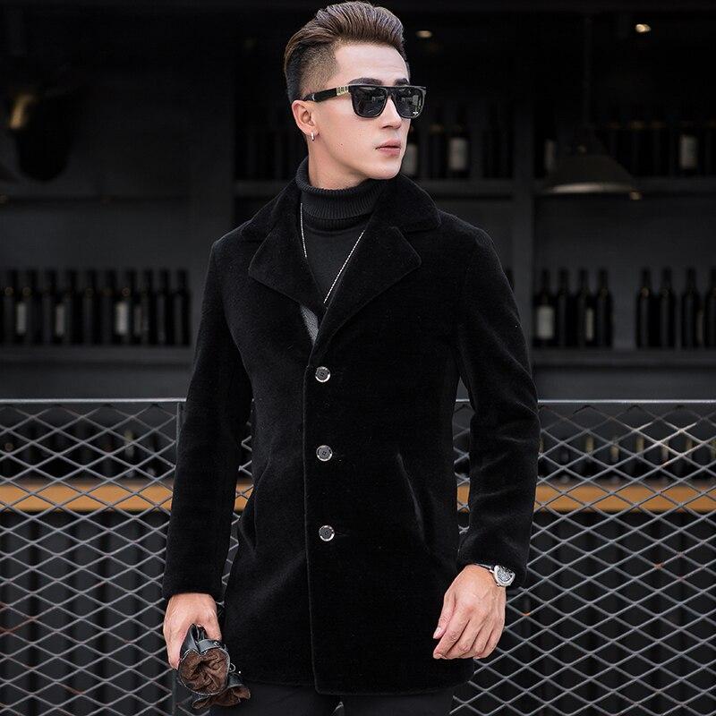Real Fur Coat Men Sheep Shearing Long Wool Coat Jacket Two Side Wear Leather Jacket Veste Homme Cuir XQX X8607 KJ858