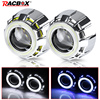 3.0 inch White Angel eye 2.5 Inch Bi Led Projector lenses with 4.0 inch White Red Blue Angel eyes Retrofit H7 H4 Car Assembly