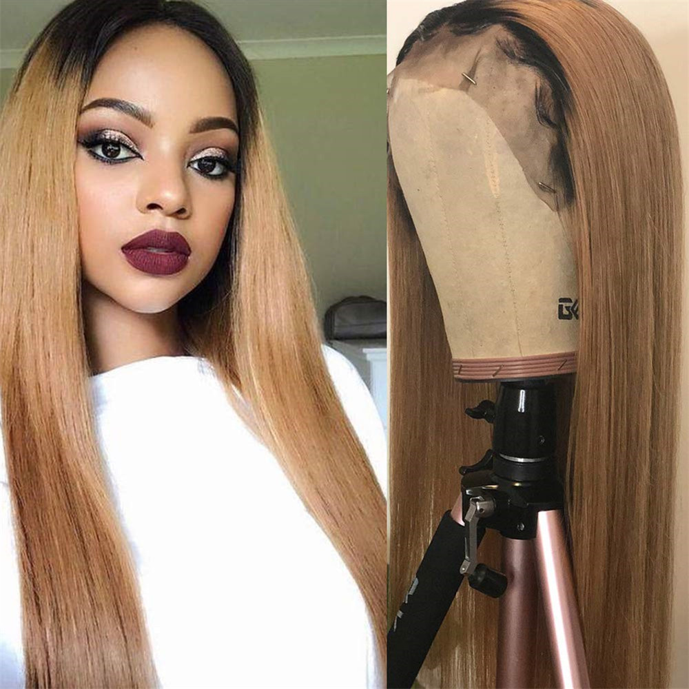 Ombre Blonde Straight Hair Lace Front Human Hair Wigs Brazilian Remy Bleached Knots Glueless 13x4 Lace Wig With Baby Hair
