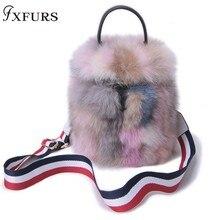 2019 New Real Fox Fur Handbag Bucket Bag Women Luxury Single Shoulder Bags Tote Genuine Leather Club Girl Cute