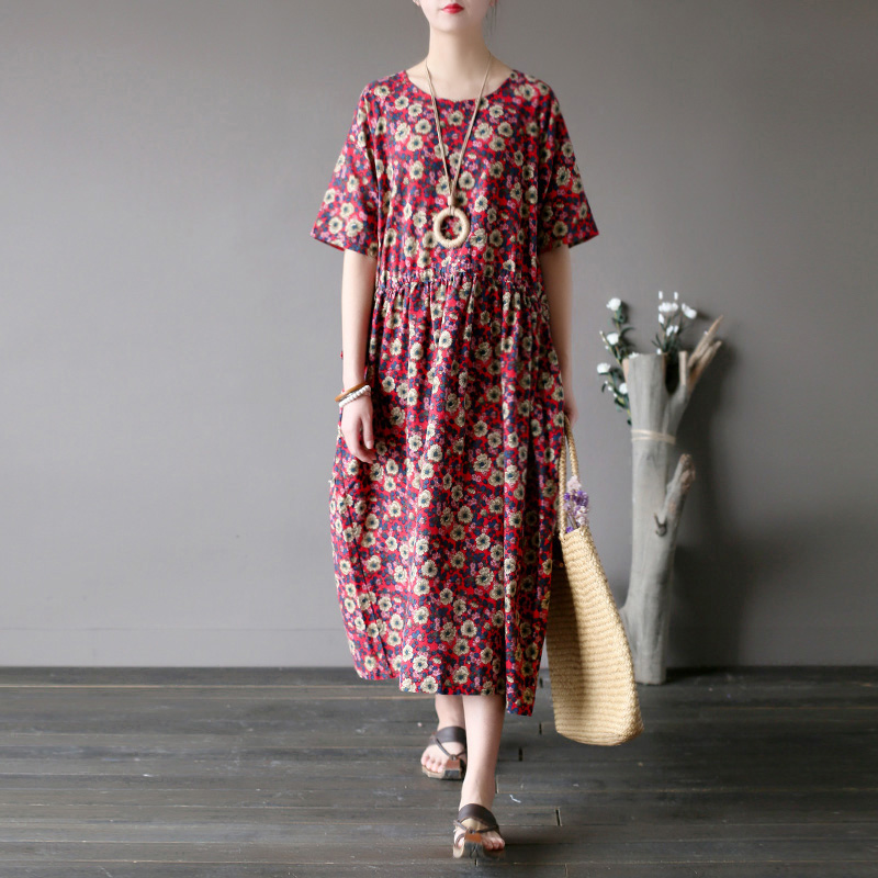 Literary and artistic retro cotton and hemp small broken flower dress with waistband loose sleeve long