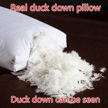 3D подушка из белого утиного/гусиного пуха, стандартный Антибактериальный элегантный домашний текстиль, новая подушка на натуральном утином пуху 48*74 см