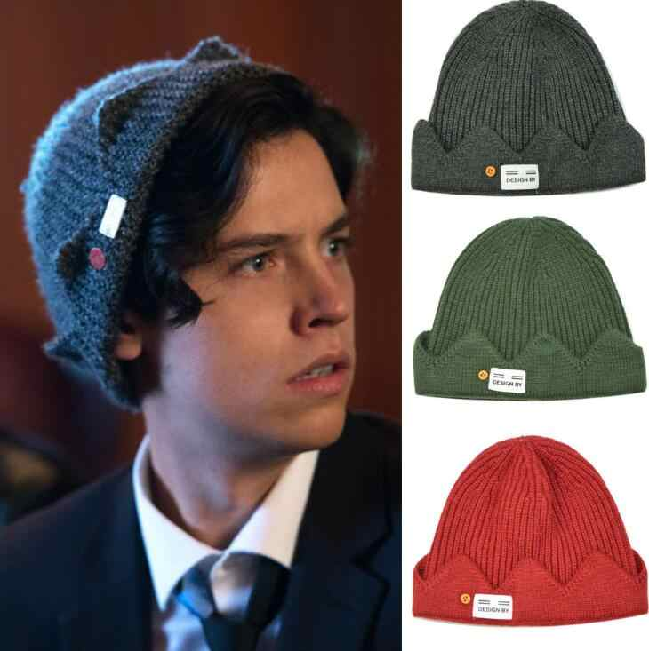 New Hot Jughead Jones Riverdale Cosplay Winter Warm Beanie Hat Topic Exclusive Crown Knitted Cap hat Embroidered dome hat