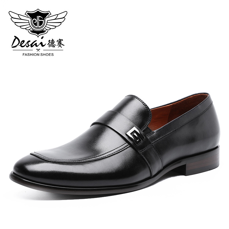Desai Male Shoes Genuine Leather 2020 New Metal Decoration  Leather Handmade Soft Comforable Leather Men Loafers Causal ShoesMens  Casual Shoes