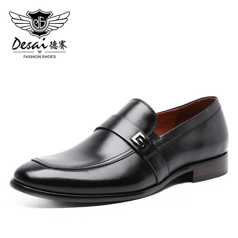 Desai homme chaussures en cuir véritable 2020 nouveau métal décoration en cuir à la main doux confortable en cuir hommes mocassins casual chaussures
