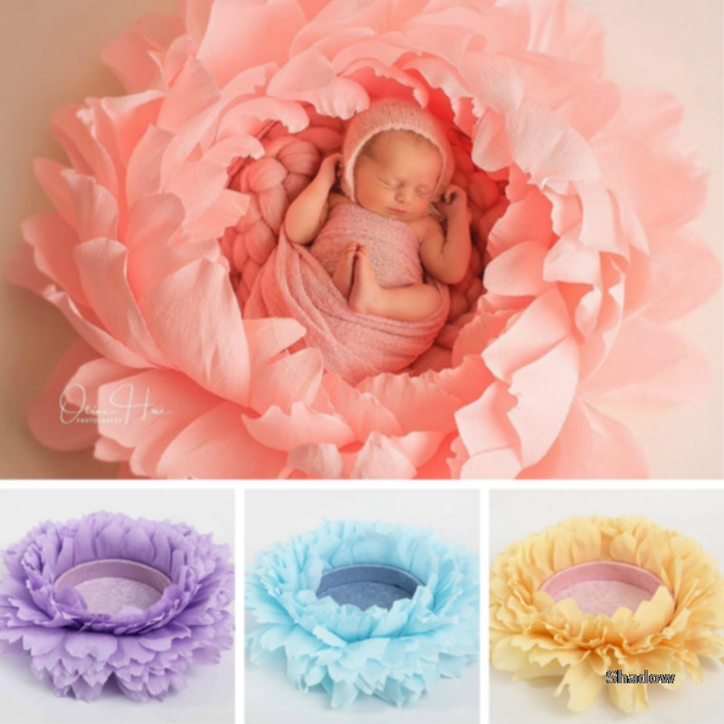Baby Photography Props Flower Shaped Posing Container Big Petal Props Infant Photo Shoot Accessories Full-moon Creative Props