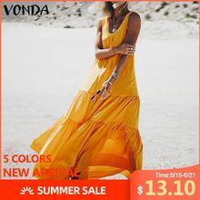 VONDA Loose Long Maxi Dress 2020 Women Sexy Sleeveless Solid Color Bohemian Part
