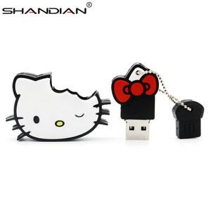 SHANDIAN Wholesale cute Hello Kitty USB Flash Drive 4gb 8gb 16gb 32gb 64gb Flash Card Kitty Cat USB Stick Cartoon Kitty U Disk