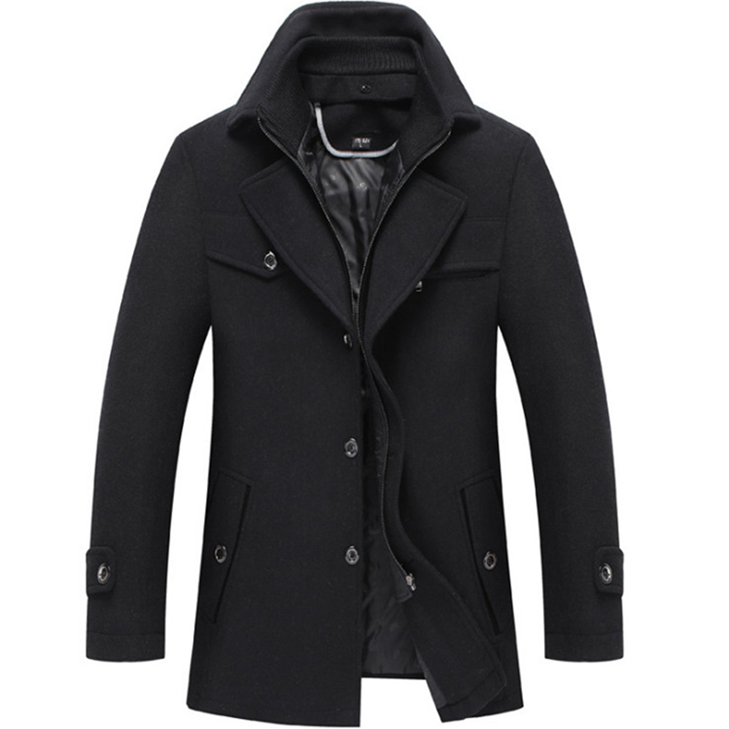 New Men Wool Overcoat Winter Coat Business Casual Thick Mens Woolen Jackets Slim Fit Trench Coat Male Luxury Clothing
