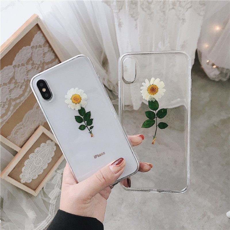 Real Flowers Dried Flowers Transparent Drop Glue Back Cover for IPhone X 6 6S 7 8 Plus Phone Case for Iphone XR XS Max Cover image