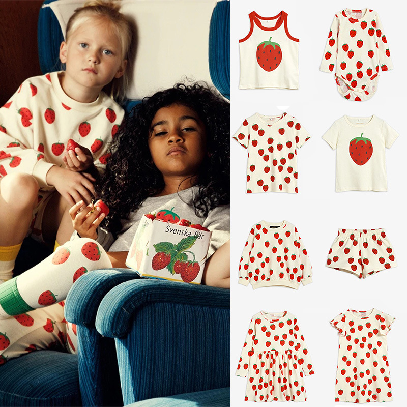 Kids Clothes Sets Mini Brand 2021 New Summer Toddler Girls T-shirts Strawberry Clothing Infant Baby Boys Outfit Pants Tops Tees 1