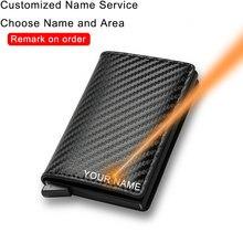 DIENQI-Billeteras de fibra de carbono para hombre Rfid, color negro mágico, triple, de cuero, delgada, monedero