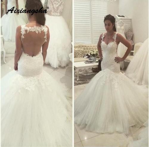 Boho Vestido De Noiva 2019 Muslim Wedding Dresses Mermaid Sweetheart Tulle Lace See Through Dubai Arabic Wedding Gown Bridal