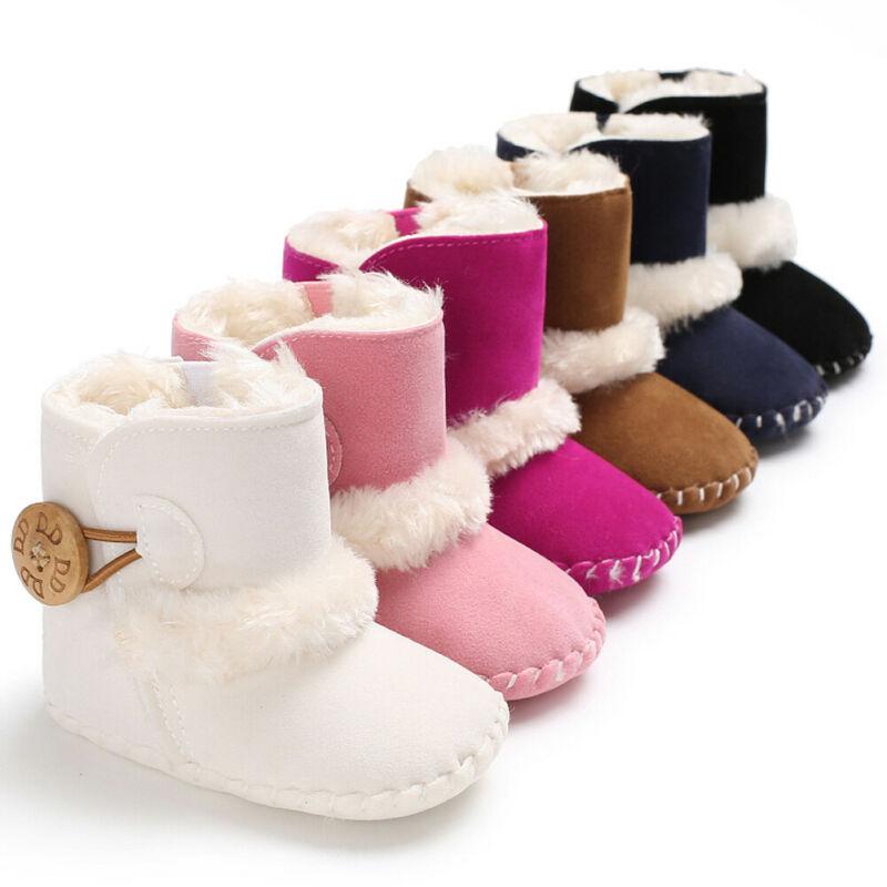 New Baby Infant Girls Winter Warm Boots Newborn Toddler Soft Slipper Crib Fleece Sole Shoes Bottom Shoes Prewalker 0-18M