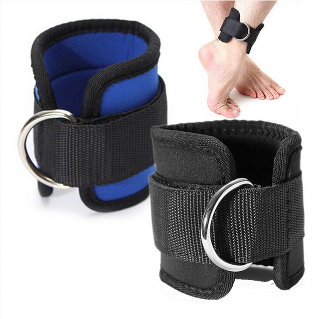 D-ring Ankle Strap Buckle Body Building Resistance Band Gym Thigh Leg Ankle Durable Cuffs Power Weight Lifting Fitness Rope