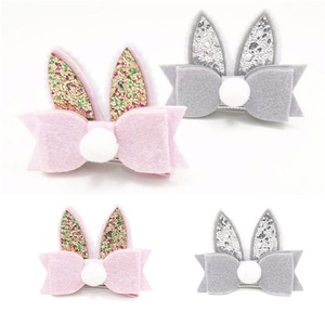 Hair Accessories For Girls Hairclip Baby Girl Toddler Kids PomPom Sequined Rabbit Ear Hair Clip Solid Bowknot Hairpin Barrette