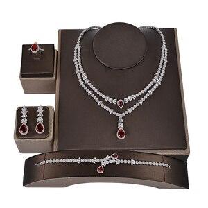 Image 2 - Женский комплект украшений, колье, серьги и браслет