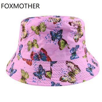 FOXMOTHER-gorros de pescador con mariposa para mujer, gorras de pescador, color rosa y azul, novedad de verano