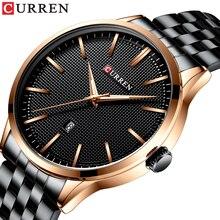 CURREN Mens Watch 2019 Stylish Business Male Wristwatch Black Stainless Steel Rose Gold Dial Calendar Waterproof Erkek Kol Saati цена 2017