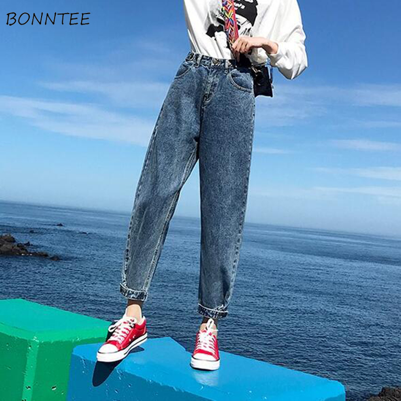 Jeans Women Vintage Denim Straight Harajuku BF Loose 2XL High Waist Student Womens Trousers All-match Ulzzang Daily Leisure Chic