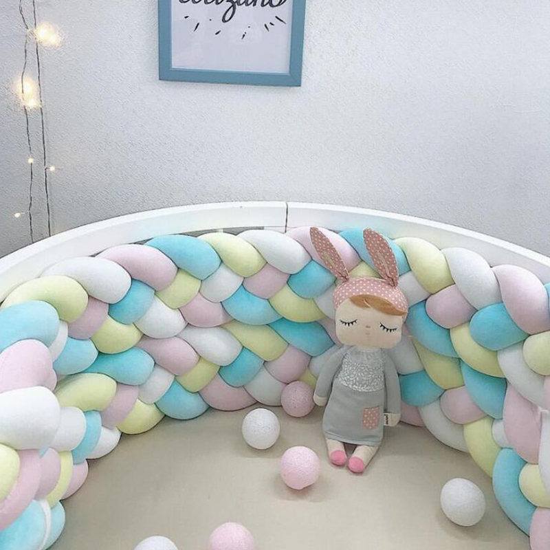 4M Length Design Knot Crib Newborn Cotton Bed Long Knotted 4 Braid Pillow Baby Bed Bumper Knot Crib Infant Baby Room Decor