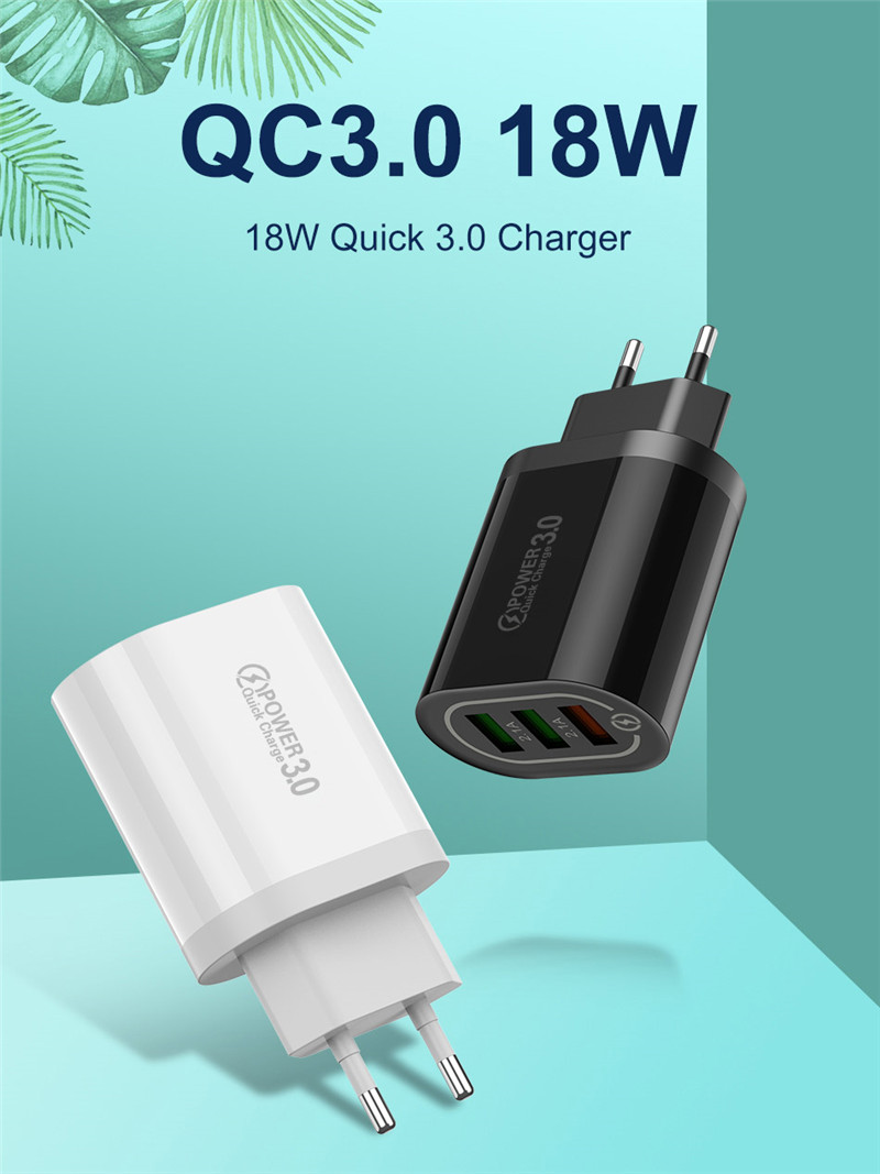 USLION Quick Charge 3.0 USB Phone Charger For Samsung S8 S9 Xiaomi mi 8 Huawei Fast Wall Charging For iPhone 6 7 8 X XS Max iPad Hdcdc2b80d4e64359a16aaf786bdf6e8ev