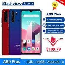 Blackview – Smartphone A80 Plus, téléphone portable avec caméra arrière Quad, 4680mAh, 6.49 pouces HD +, 4 go + 64 go, Octa Core, Android 10, NFC, 4G