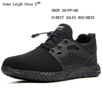 Men's Outdoor Breathable Mesh Light & Comfortable Steel Toe Protective Work Shoes Boots Men Summer Puncture Proof Safety Shoes