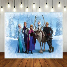 Vinyl Photography Backdrop Anna Elsa Princess For Photo Customize Happy Birthday Kids Party Decorations Baby Shower Supplies