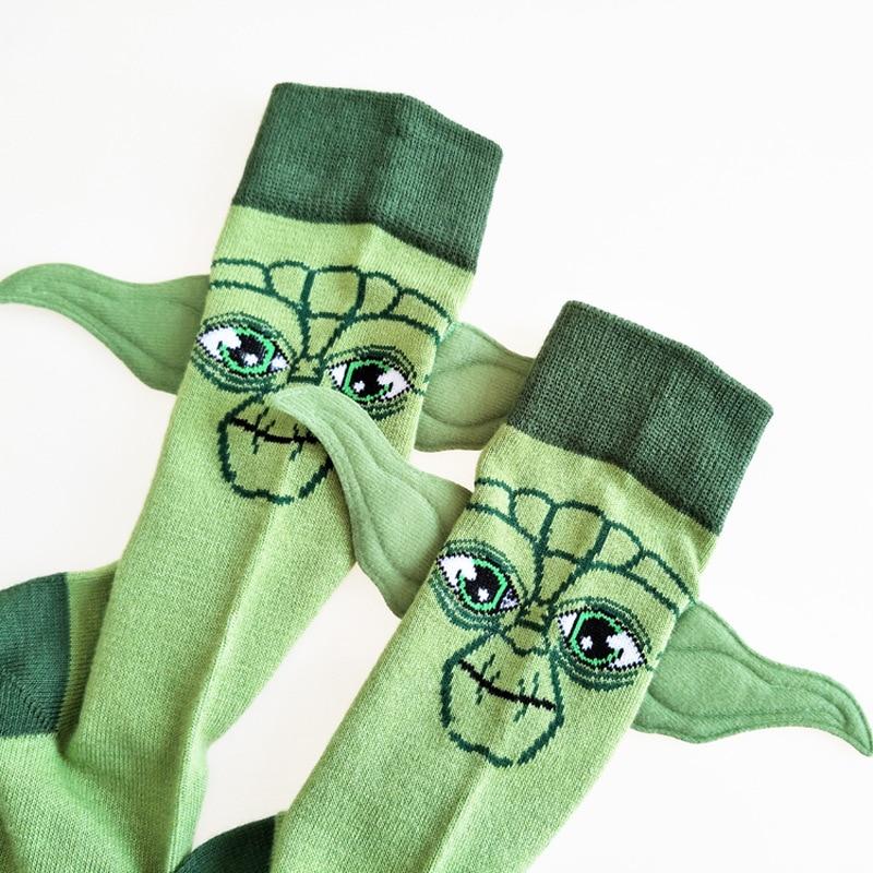 Movie Star Wars Socks Master Yoda Long Ears Cartoon Cotton Men Sock Green Casual Running Socks Happy Calcetine Hombre Divertido