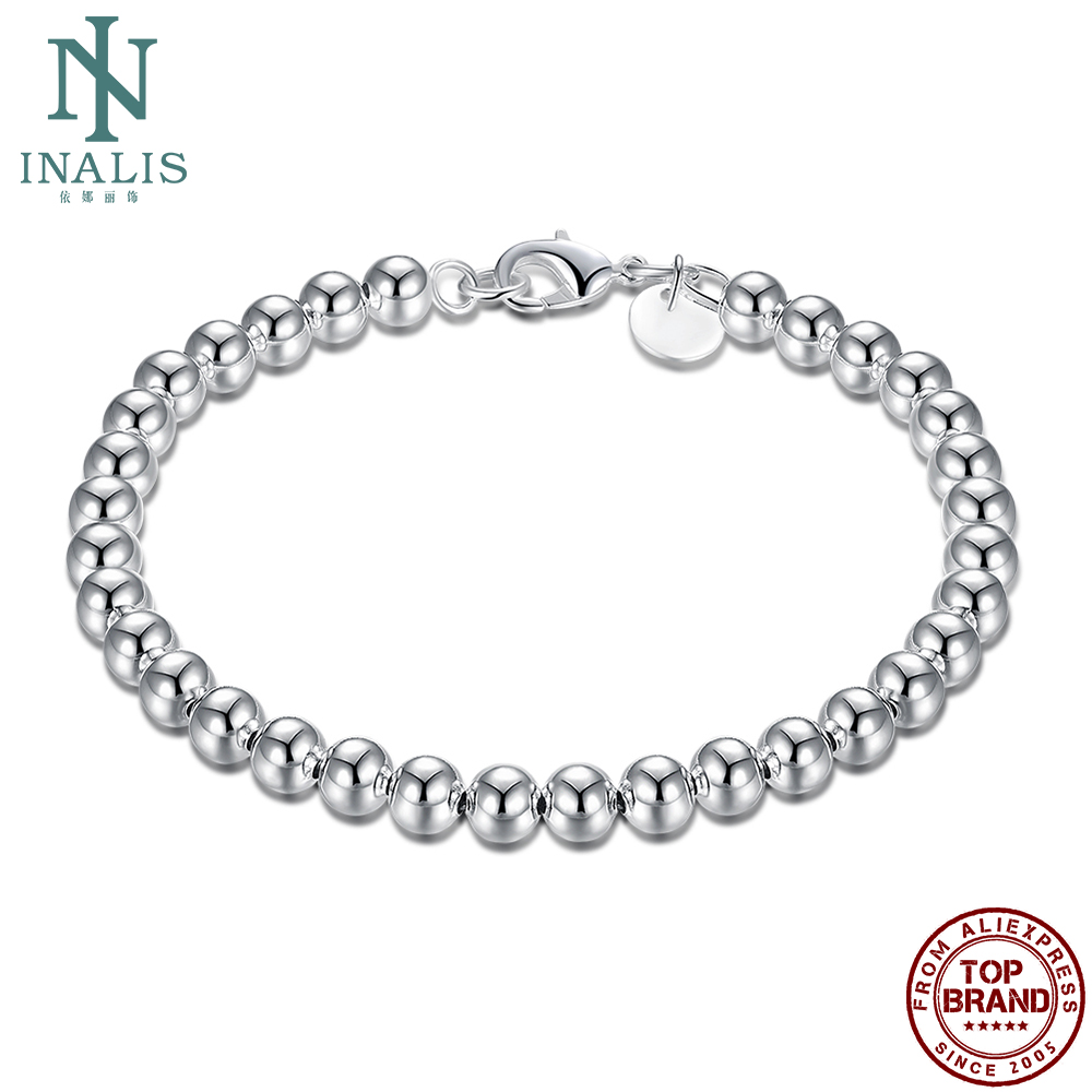 INALIS Silver Plated Chain Link Bracelet Creative Sphere Rosary Bracelet For Women Personality Fashion Jewelry Birthday Gifts