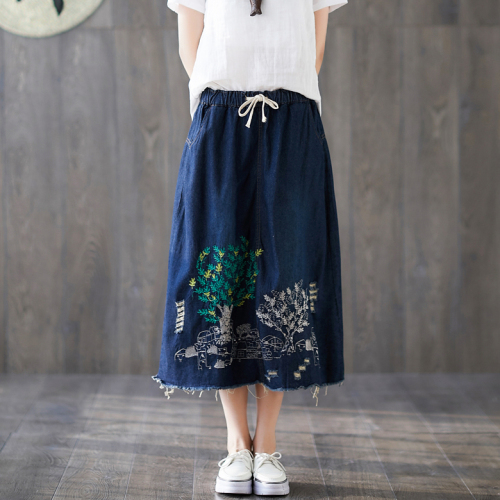 Embroidery Korean Style Skirt Women Floral Long Maxi Skirts For Women Casual Faldas Mujer Moda Patchwork Long Skirts