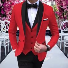 Mens Suits Vest Pants Tuxedos Party-Costume Slim-Fit Lapel Wedding-Prom Acket Black Red