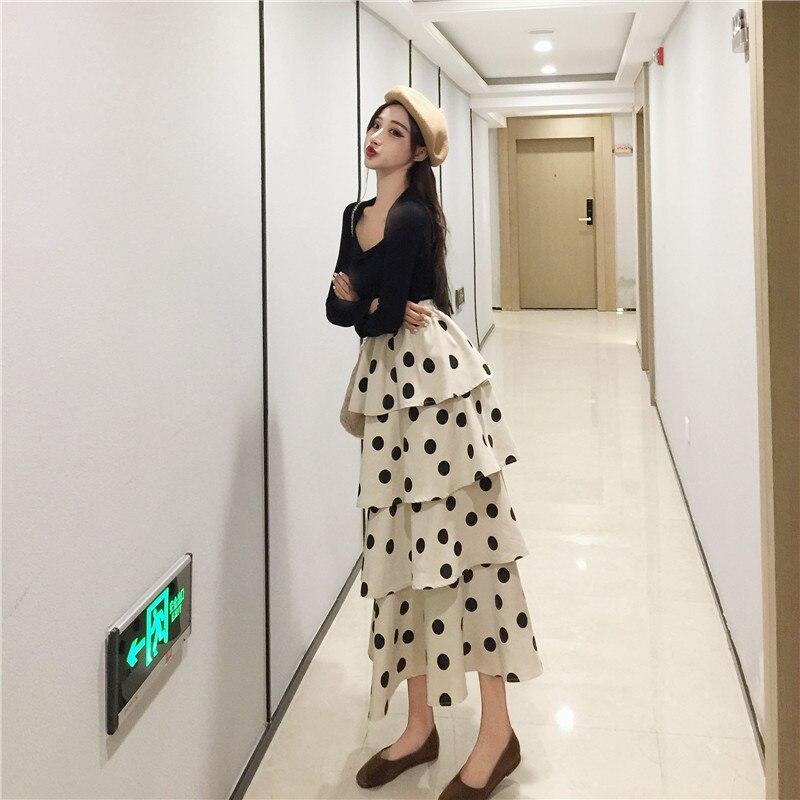 Photo Shoot Retro Base Tops + High-waisted Polka Dot Slimming Cake Dress 872 #